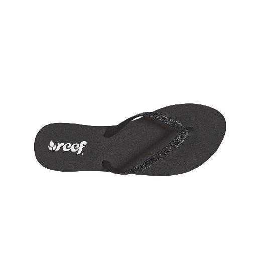 Kids shoe online Reef flipflop Black flip flop with sparkly black straps