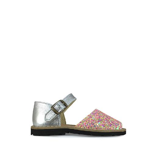Kids shoe online Minorquines sandal Sandal in pinkglitter and silver with heel