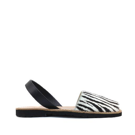 Kids shoe online Minorquines sandal Sandal in zebra and black leather
