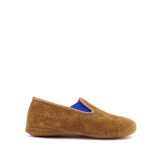 Kids shoe online Gallucci slippers Suede slipper with blue accent