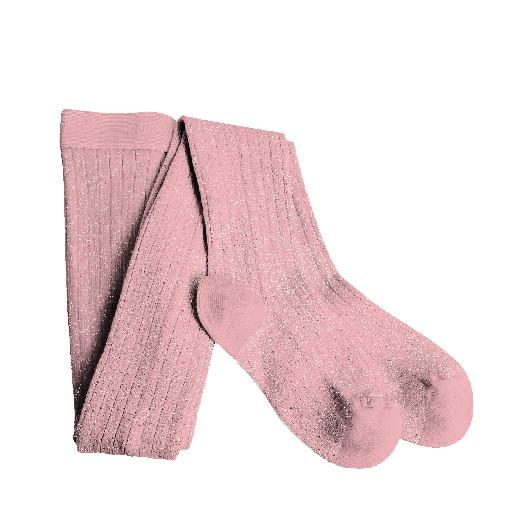 Kinderschoen online Collegien broekkousen Rose Quartz geribde lurex collants