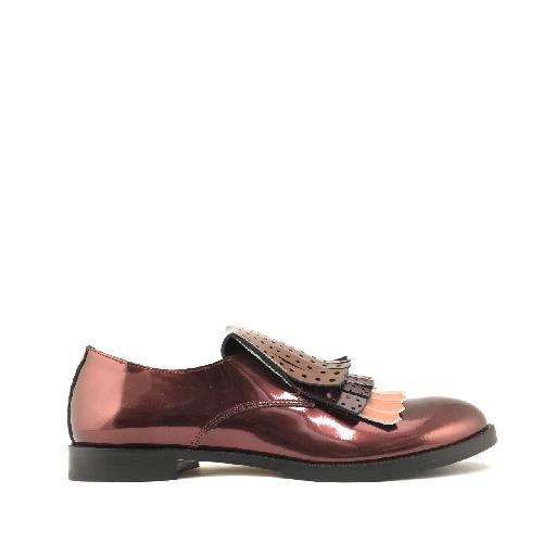Kinderschoen online Gallucci loafer Loafer metallic bordeaux met fringes