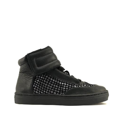 Kids shoe online MAA trainer Black cool sneaker with silver accent