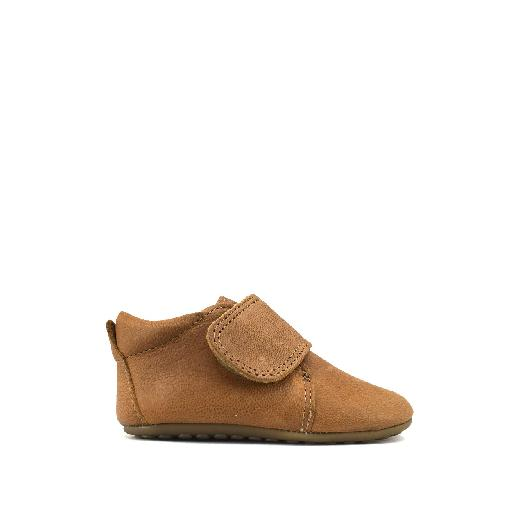 Kids shoe online Pompom slippers Leather slipper in cognac