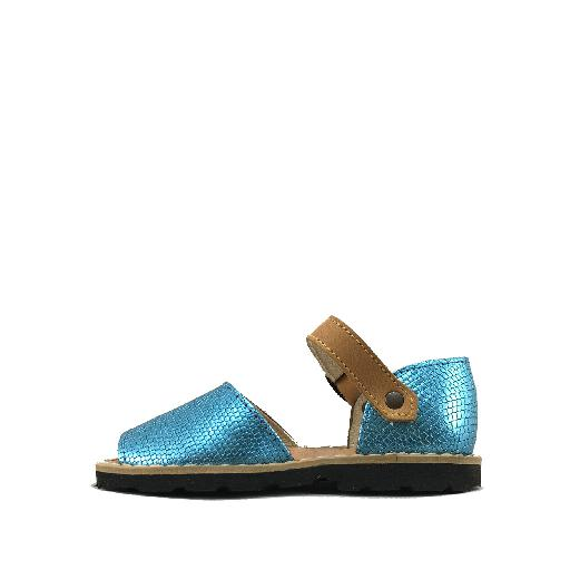 Minorquines sandals Sandal in reptile print in turquoise-blue