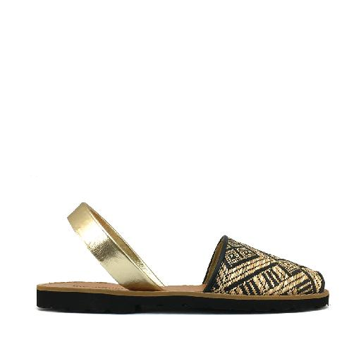 Kids shoe online Minorquines sandal Sandal in raffia print and gold