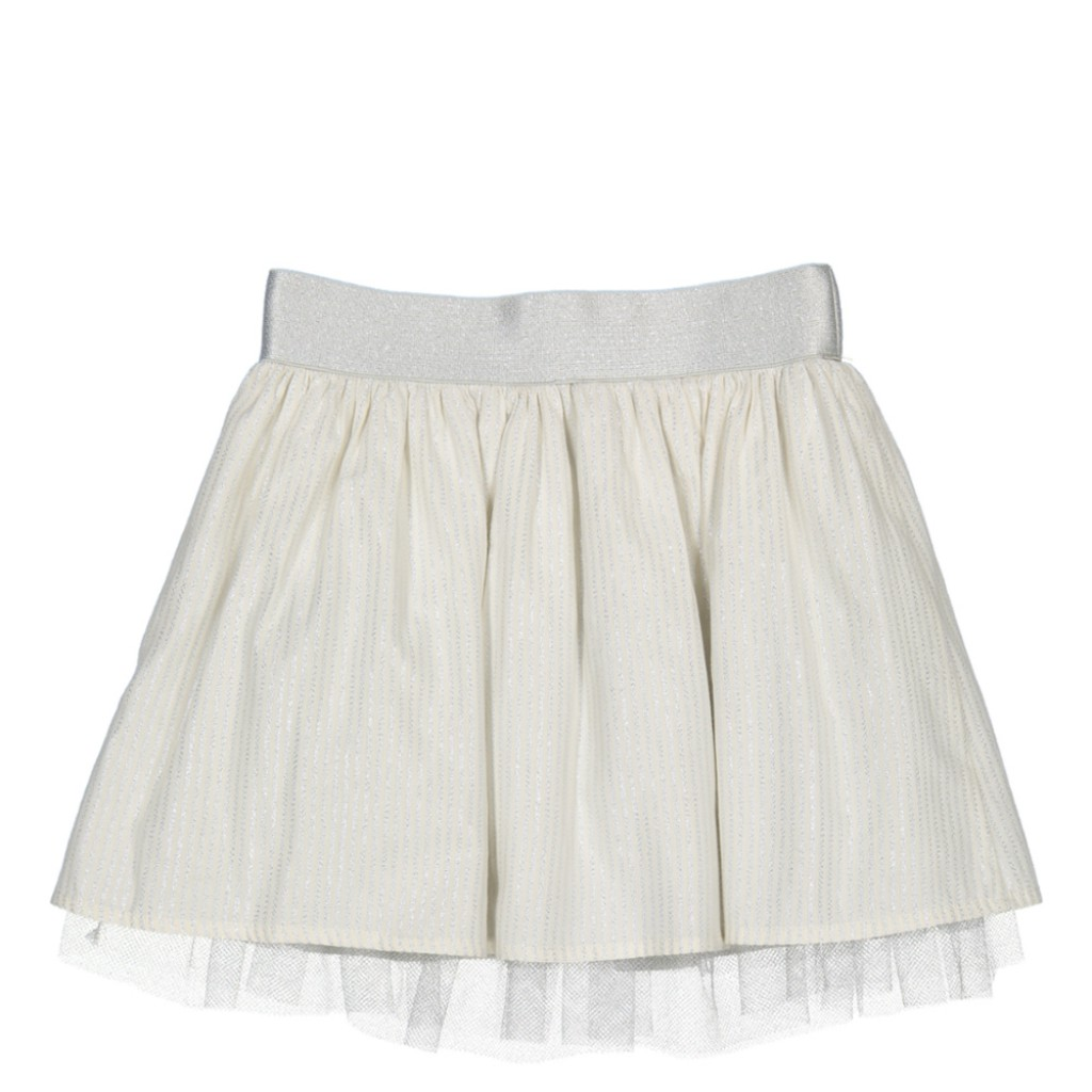 Miss chips - Wrinkle ecru silver skirt with silver stripes and tulle underskirt