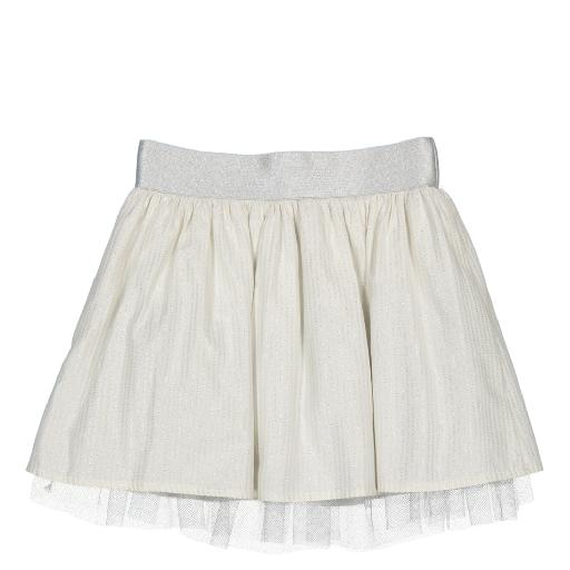 Miss chips skirts Wrinkle ecru silver skirt with silver stripes and tulle underskirt