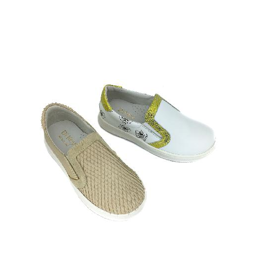 BiKey trainer Loafer in white print and gold