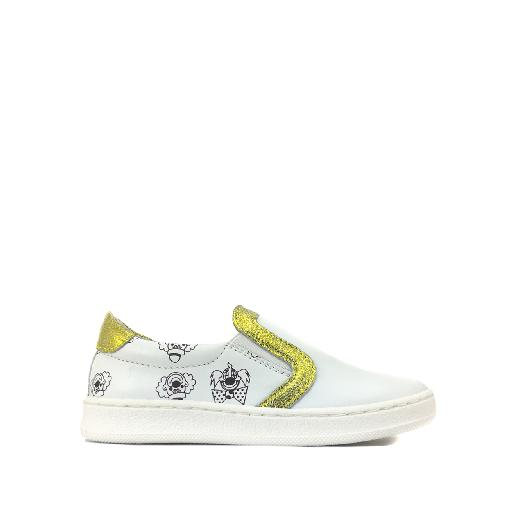 Kids shoe online BiKey trainer Loafer in white print and gold