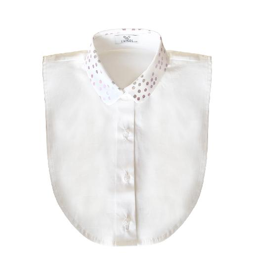 Kids shoe online Lilirooz collar Round, reinforced collar with a polka dots print and a white bodice.