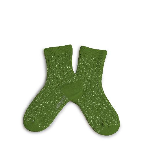 Kids shoe online Collegien short socks Shiny green-colored stockings with silver speckle