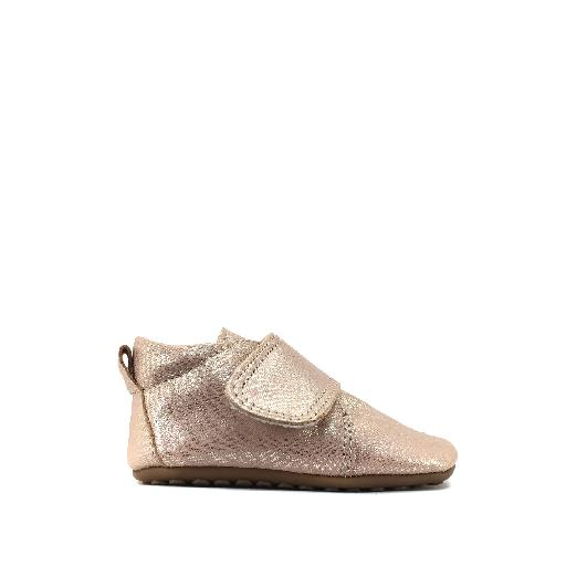 Kids shoe online Pompom slippers Leather slipper in sparkle rose