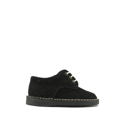 Kids shoe online Eli lace-up shoe Lace shoe in black nubuck with beige stitching