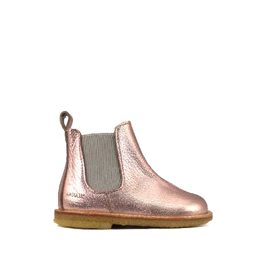 Angulus short boots 1st stepper Chelsea boot in metallic pink