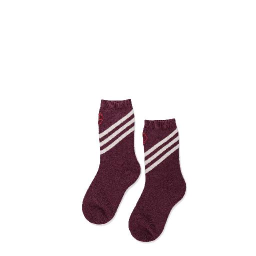 Kids shoe online The Animals Observatory short socks Woolen bordeaux socks with beige stripes