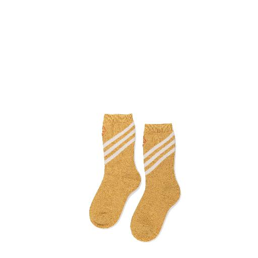 Kids shoe online The Animals Observatory short socks Woolen yellow socks with beige stripes