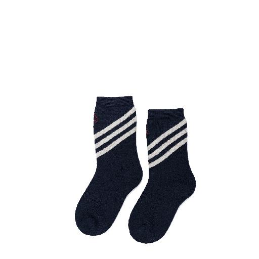 Kids shoe online The Animals Observatory short socks Woolen dark blue socks with beige stripes
