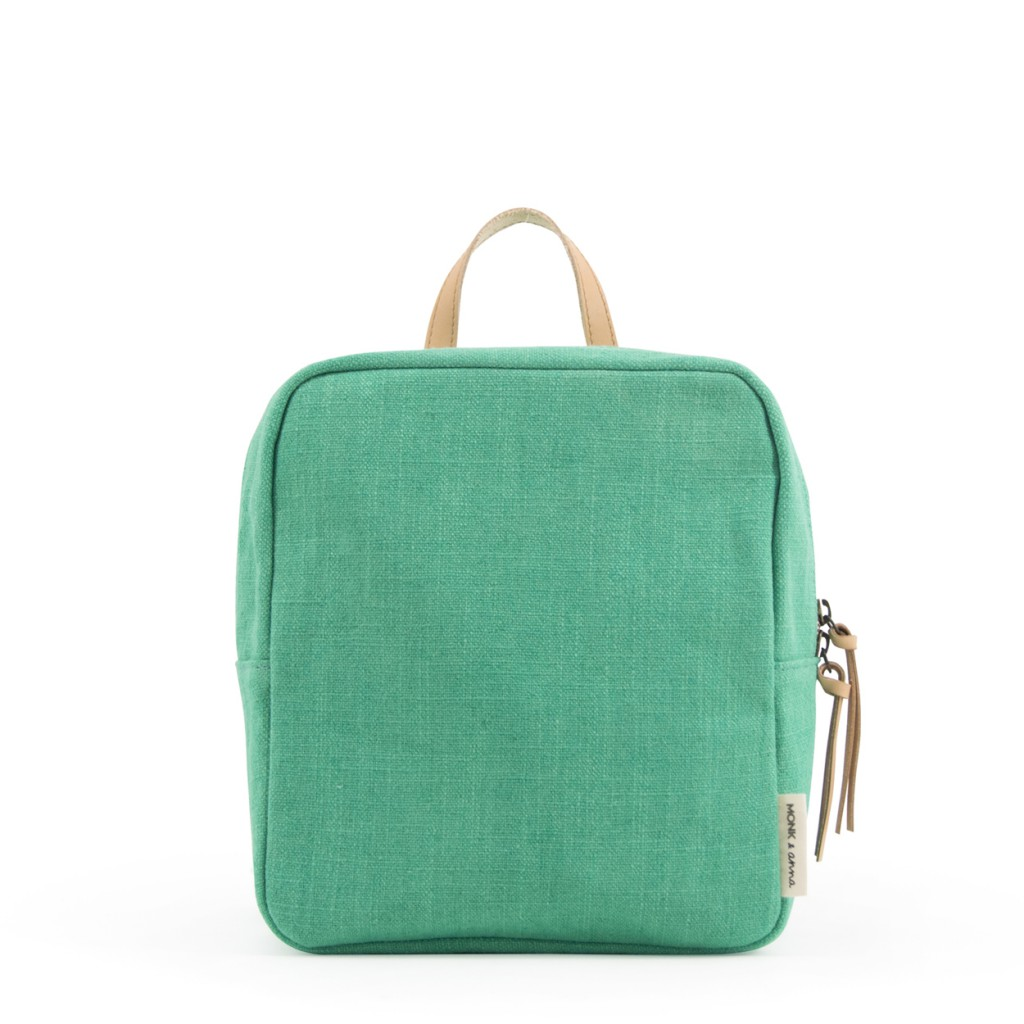 Monk & Anna - Backpack in green with leather handle
