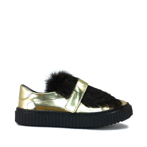 Kids shoe online Eli trainer Sneaker in gold laminate with black hair