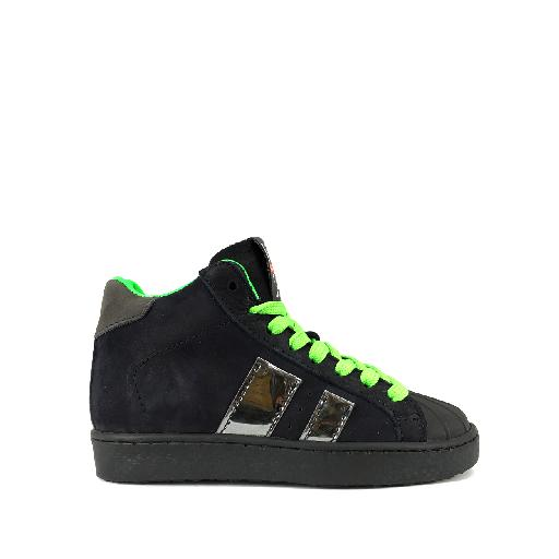 Kids shoe online HIP trainer High dark blue sneaker with fluo green laces