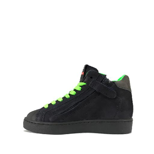 HIP trainer High dark blue sneaker with fluo green laces