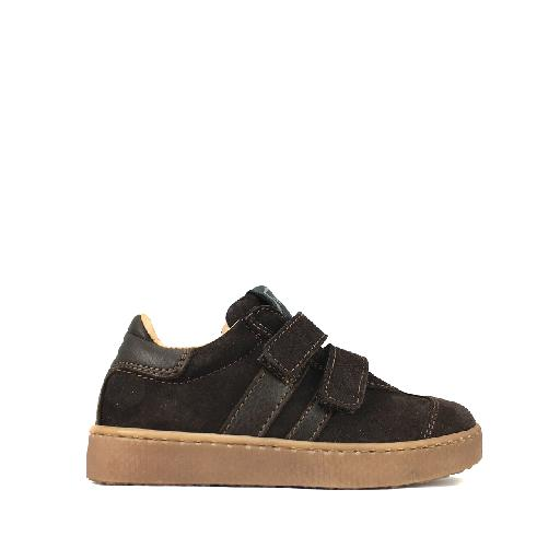 Kids shoe online HIP trainer Darkbrown suede sneaker