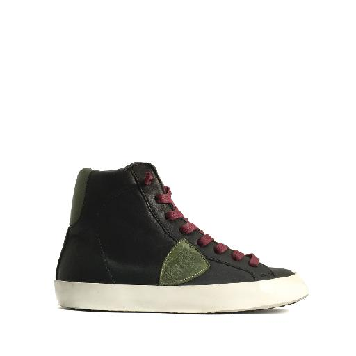 Kids shoe online Philippe Model trainer High sneaker in black and green