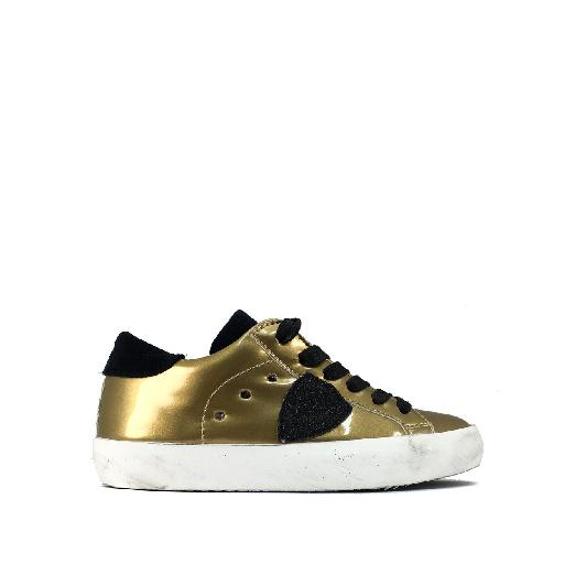 Kids shoe online Philippe Model trainer Low gold sneaker with black accents