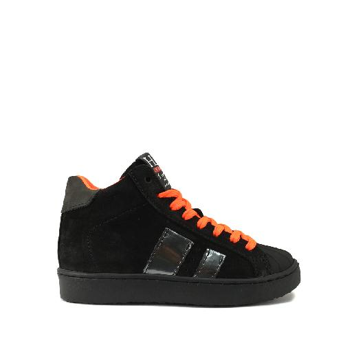 Kids shoe online HIP trainer High black sneaker with fluo orange laces