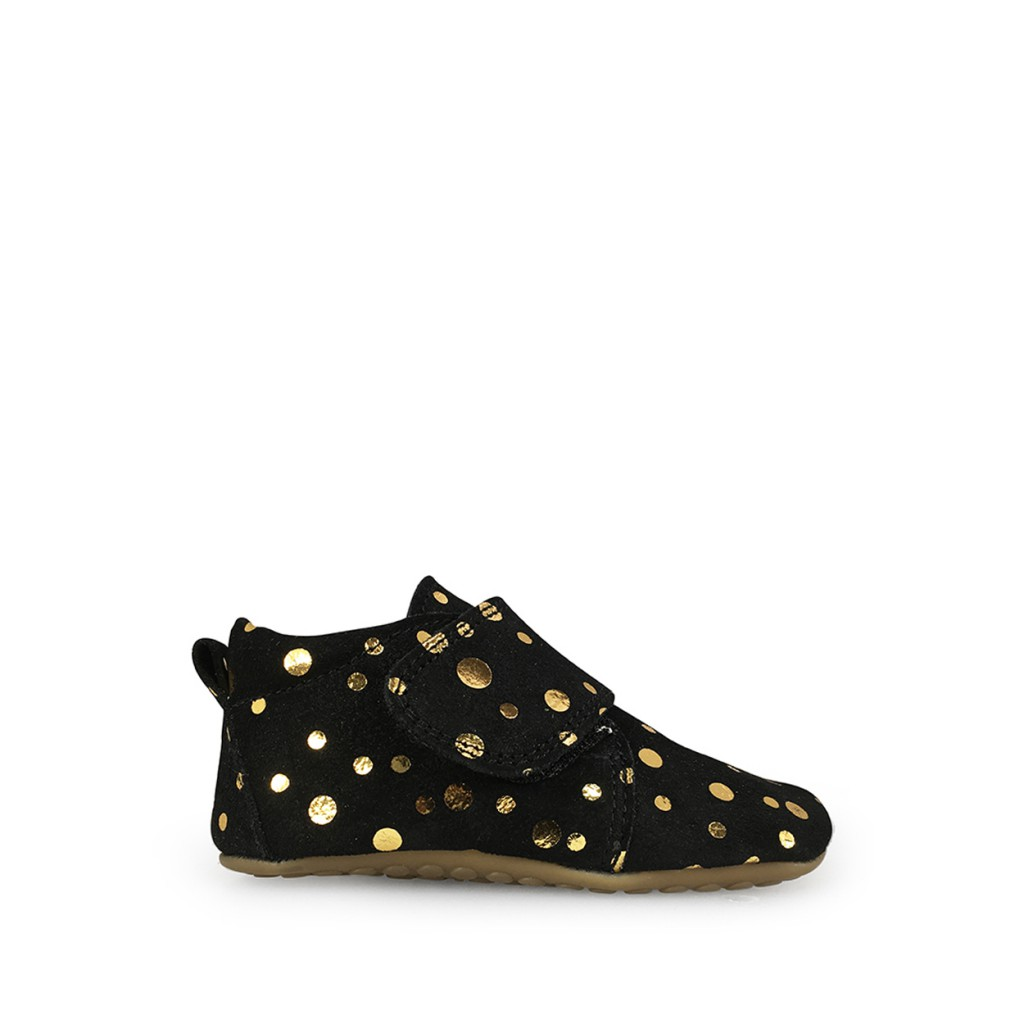 Pompom - Leather slipper in black and gold