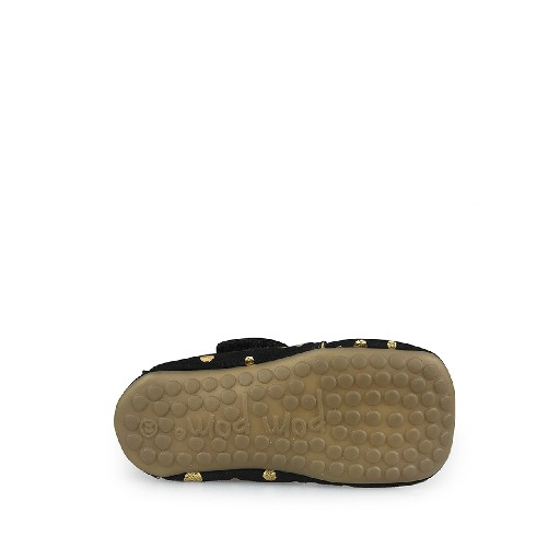 Pompom slippers Leather slipper in black and gold