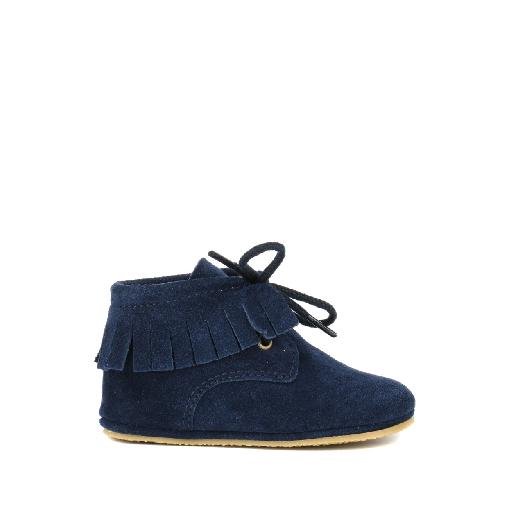 Kids shoe online Pinocchio pre step shoe Prewalker suede dark blue with fringes