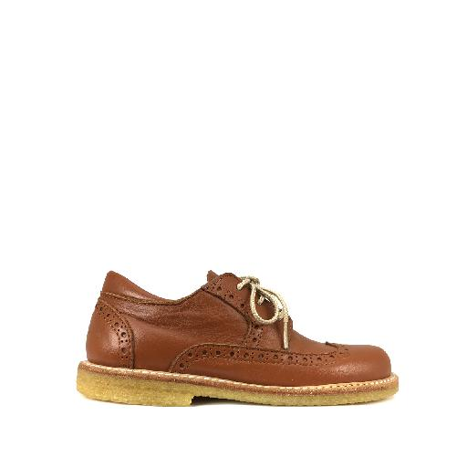 Kids shoe online Angulus lace-up shoes Lace shoe in cognac with brogues