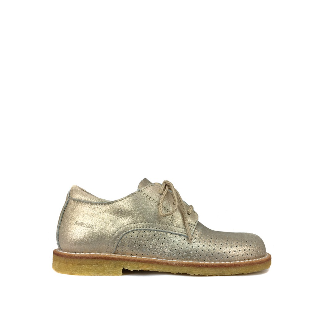 Angulus - Gold perforated lace shoe