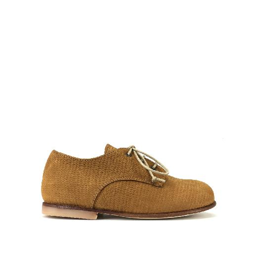 Kids shoe online Pèpè lace-up shoe Derby in brown leather with structure