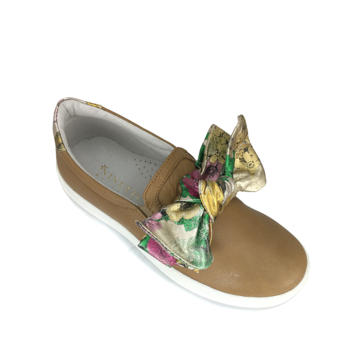BiKey loafer Brown loafer with floral bow