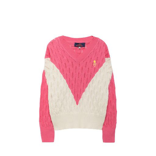 Kinderschoen online The Animals Observatory sweaters Fijngebreide trui in roze en wit