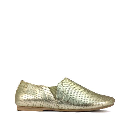 Kids shoe online Manuela de juan loafer Loafer in gold perforated leather