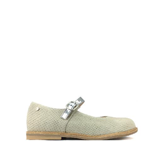 Kids shoe online Manuela de juan mary jane Beige mary jane with silver strap