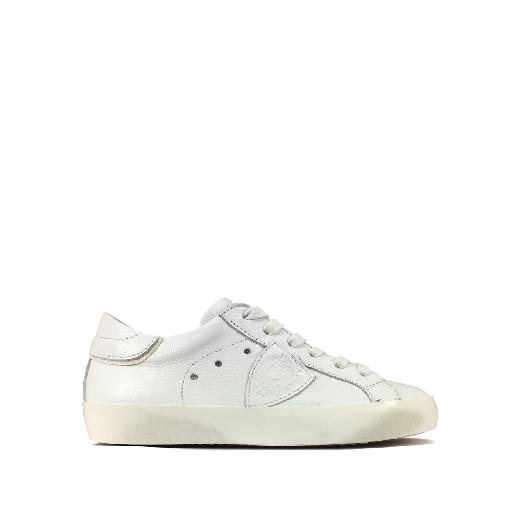 Kids shoe online Philippe Model trainer Low metallic white sneaker