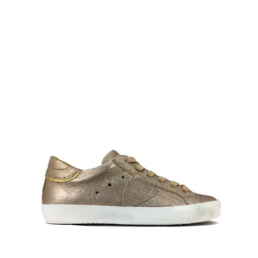 Kids shoe online Philippe Model trainer Low metallic champagne colored sneaker