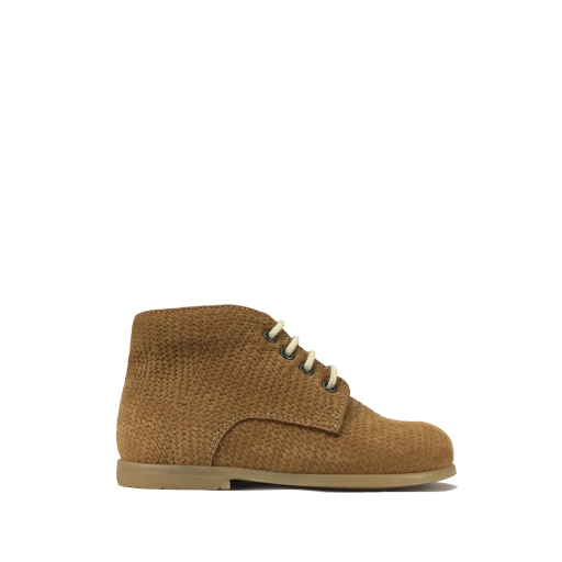 Kids shoe online Pèpè first walker First stepper in brown leather with texture