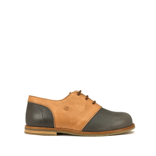 Kids shoe online Nathalie Verlinden lace-up shoes Derby in cognac and greyblue