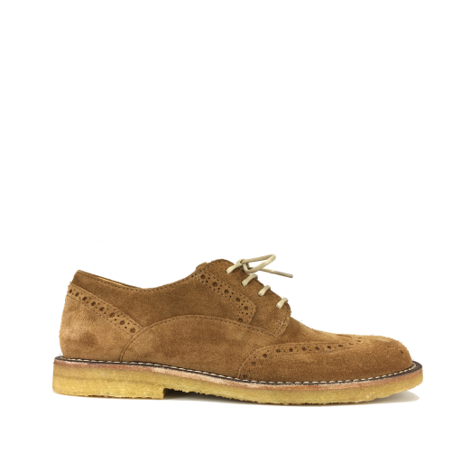 Kids shoe online Angulus lace-up shoes Lace shoe in nubuck cognac with brogues