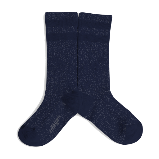 Kids shoe online Collegien knee socks Shiny dark blue knee socks with 2 stripes