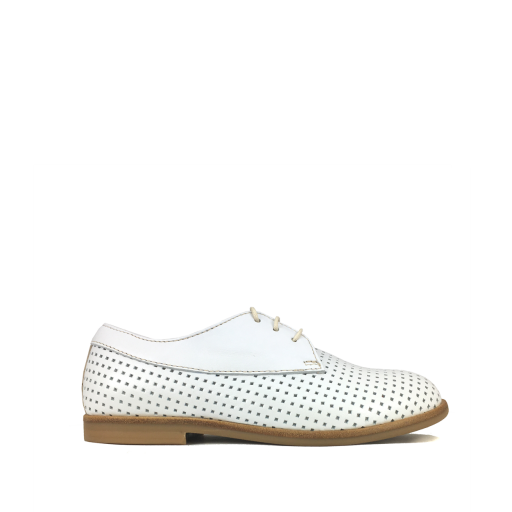 Kids shoe online Ocra by Pops lace-up shoe White perforated derby