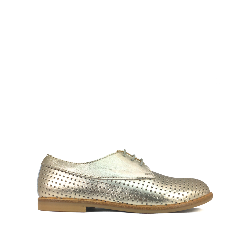 Ocra by Pops - Golden metallic perforated derby