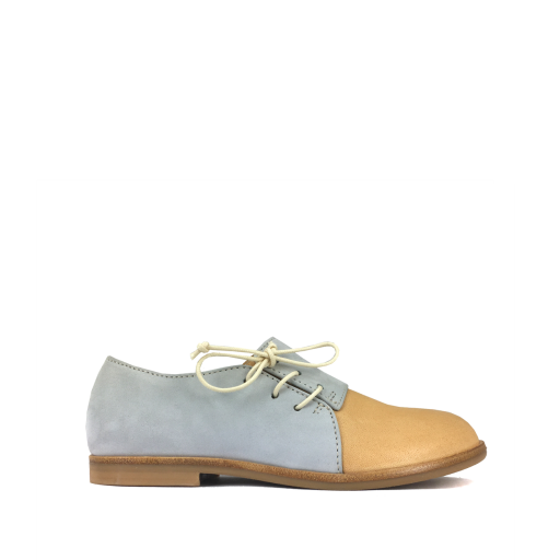 Kinderschoen online Ocra by Pops veterschoen Veterschoen in taupe en blauw