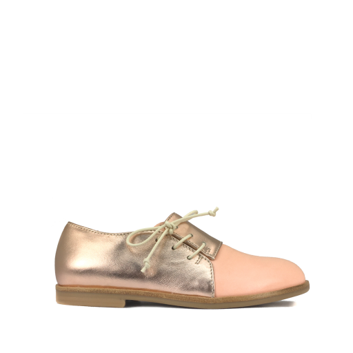 Kids shoe online Ocra by Pops lace-up shoe Derby in salmon pink and metallic rose